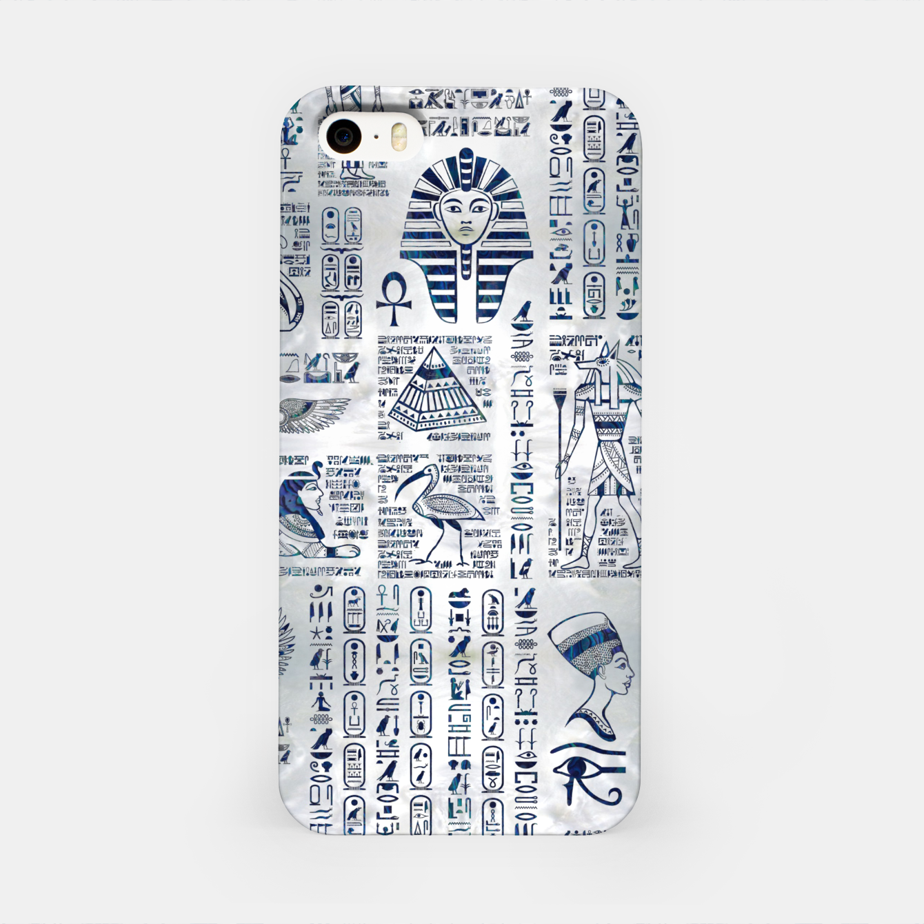 Image of Egyptian hieroglyphs and deities abalone on pearl iPhone Case - Live Heroes
