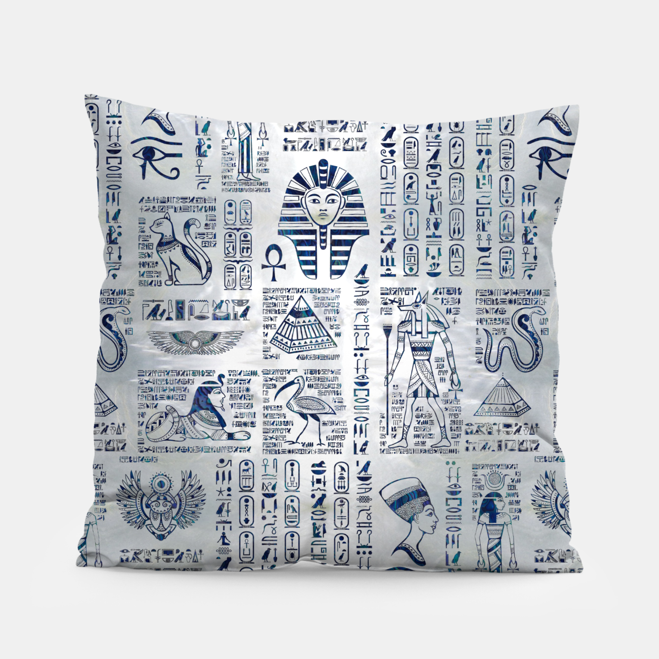 Image of Egyptian hieroglyphs and deities abalone on pearl Pillow - Live Heroes