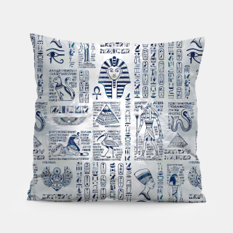 Thumbnail image of Egyptian hieroglyphs and deities abalone on pearl Pillow, Live Heroes