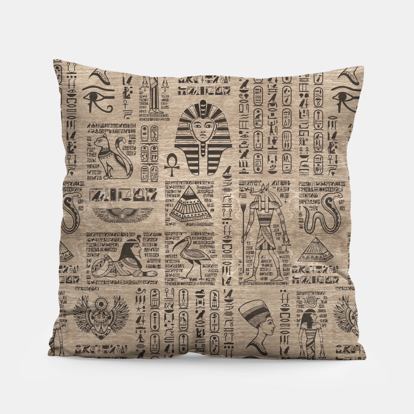 Image of Egyptian hieroglyphs and symbols on wood Pillow - Live Heroes