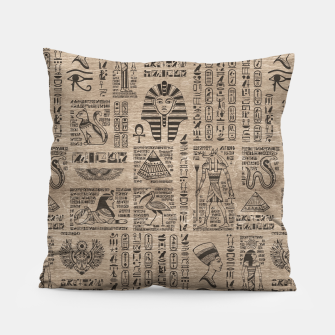 Egyptian hieroglyphs and symbols on wood Pillow thumbnail image