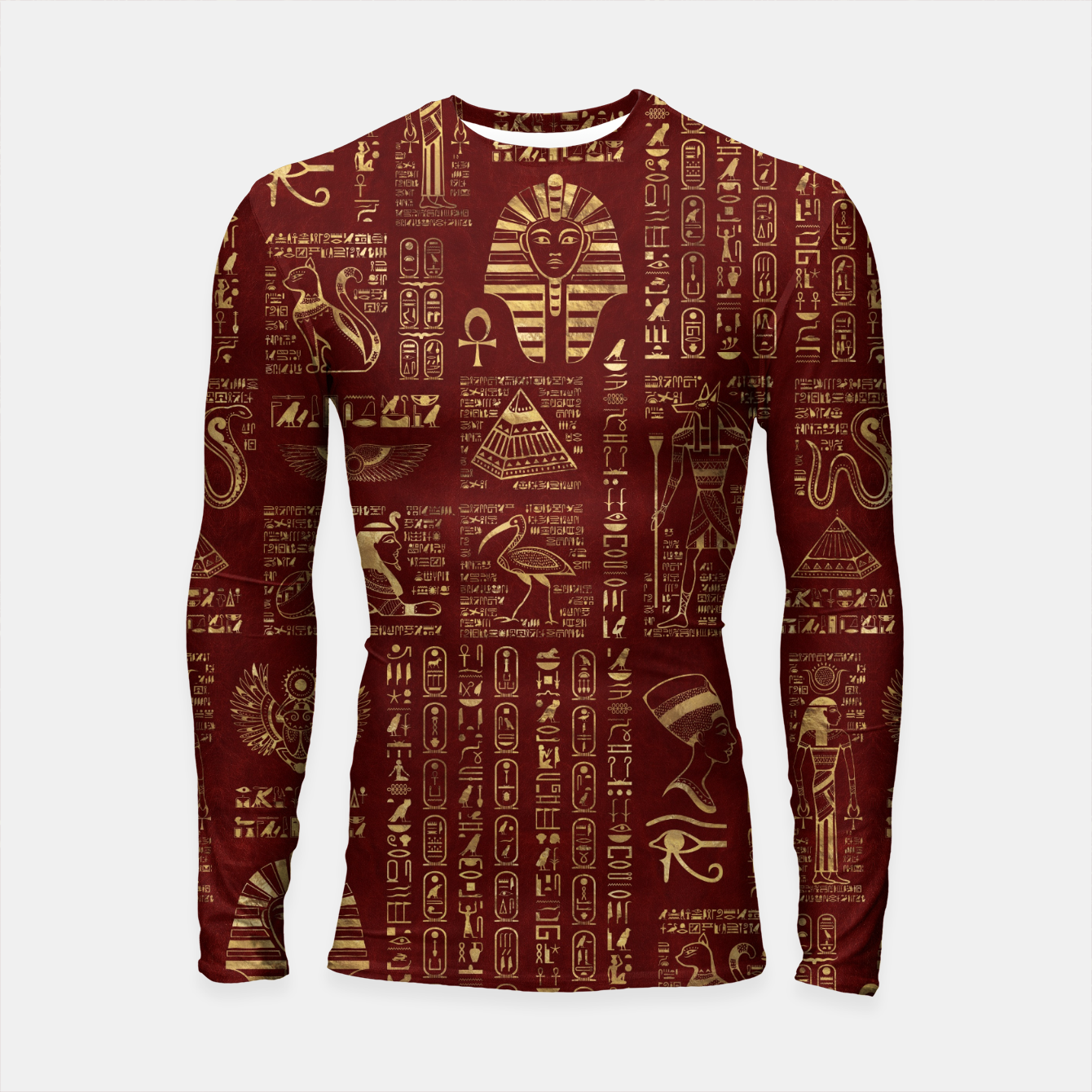 Image of Egyptian hieroglyphs and symbols gold on red leather  Longsleeve rashguard  - Live Heroes