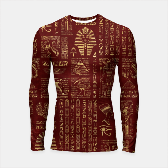 Thumbnail image of Egyptian hieroglyphs and symbols gold on red leather  Longsleeve rashguard , Live Heroes