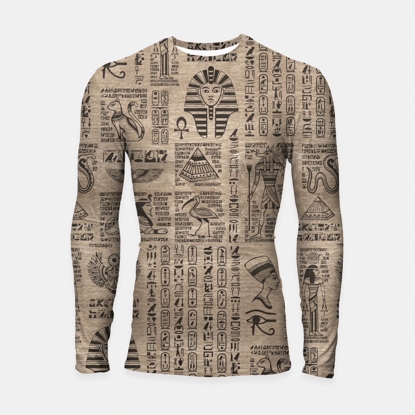 Image of Egyptian hieroglyphs and symbols on wood Longsleeve rashguard  - Live Heroes