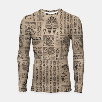 Thumbnail image of Egyptian hieroglyphs and symbols on wood Longsleeve rashguard , Live Heroes