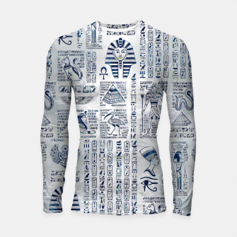 Thumbnail image of Egyptian hieroglyphs and deities abalone on pearl Longsleeve rashguard , Live Heroes