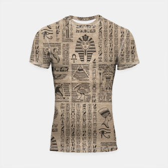 Thumbnail image of Egyptian hieroglyphs and symbols on wood Shortsleeve rashguard, Live Heroes