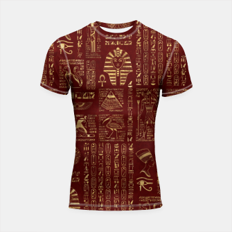 Thumbnail image of Egyptian hieroglyphs and symbols gold on red leather  Shortsleeve rashguard, Live Heroes