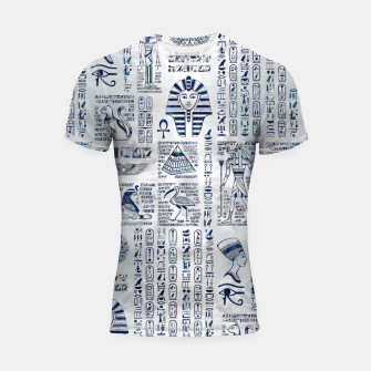 Miniatur Egyptian hieroglyphs and deities abalone on pearl Shortsleeve rashguard, Live Heroes