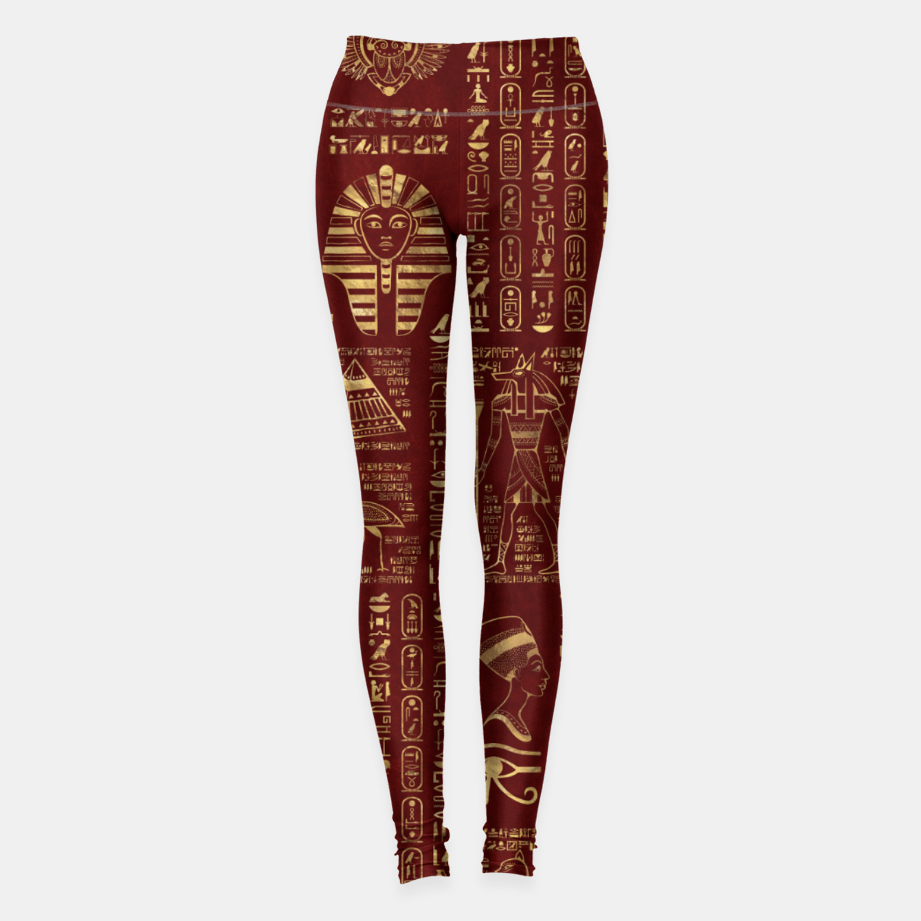 Image of Egyptian hieroglyphs and symbols gold on red leather  Leggings - Live Heroes