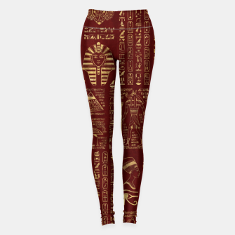 Miniaturka Egyptian hieroglyphs and symbols gold on red leather  Leggings, Live Heroes