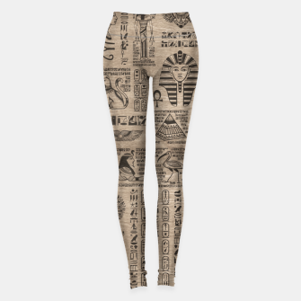 Egyptian hieroglyphs and symbols on wood Leggings thumbnail image