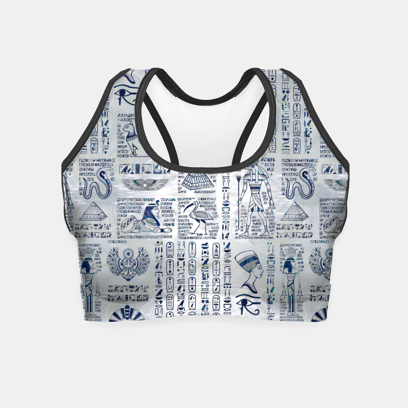 Image of Egyptian hieroglyphs and deities abalone on pearl Crop Top - Live Heroes