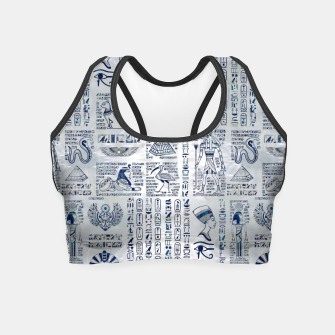 Thumbnail image of Egyptian hieroglyphs and deities abalone on pearl Crop Top, Live Heroes
