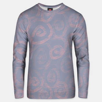 Thumbnail image of Pattern of pink swirls on blue Unisex sweater, Live Heroes