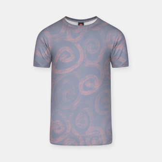 Thumbnail image of Pattern of pink swirls on blue T-shirt, Live Heroes