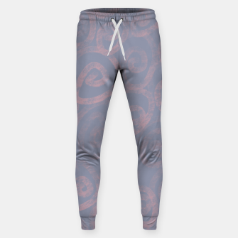 Thumbnail image of Pattern of pink swirls on blue Sweatpants, Live Heroes