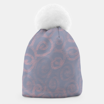 Thumbnail image of Pattern of pink swirls on blue Beanie, Live Heroes
