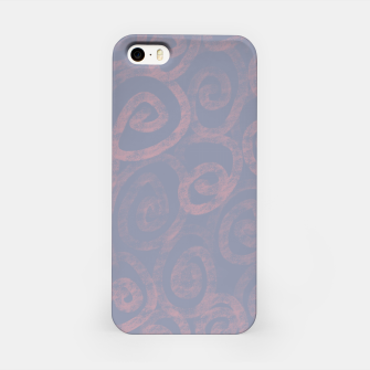 Thumbnail image of Pattern of pink swirls on blue iPhone Case, Live Heroes