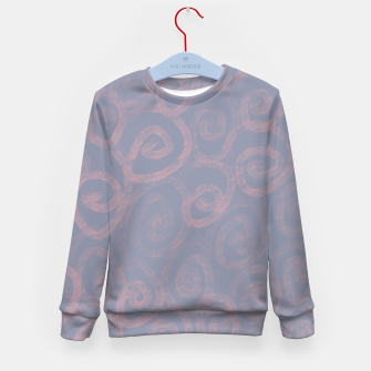 Thumbnail image of Pattern of pink swirls on blue Kid's sweater, Live Heroes