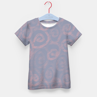 Thumbnail image of Pattern of pink swirls on blue Kid's t-shirt, Live Heroes