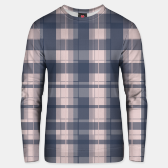 Thumbnail image of Dusty rose and Blue Modern Tartan Unisex sweater, Live Heroes
