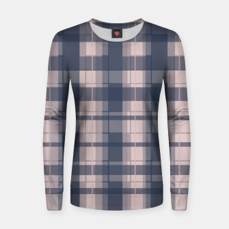 Thumbnail image of Dusty rose and Blue Modern Tartan Women sweater, Live Heroes