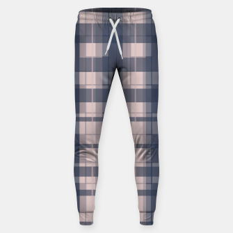 Thumbnail image of Dusty rose and Blue Modern Tartan Sweatpants, Live Heroes