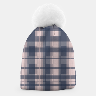 Thumbnail image of Dusty rose and Blue Modern Tartan Beanie, Live Heroes