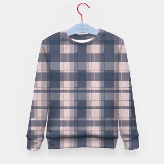 Thumbnail image of Dusty rose and Blue Modern Tartan Kid's sweater, Live Heroes