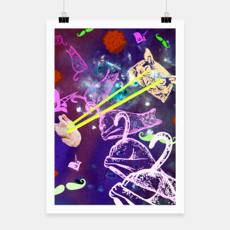 Thumbnail image of Owl Shooting Lasers At Chicken And Flying Cat In Universe Plakat, Live Heroes