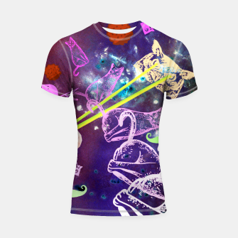 Thumbnail image of Owl Shooting Lasers At Chicken And Flying Cat In Universe Rashguard krótki rękaw, Live Heroes