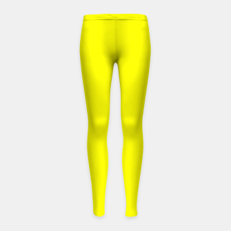 Thumbnail image of Bright Fluorescent Yellow Neon Girl's leggings, Live Heroes