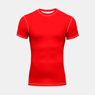 Thumbnail image of Fluorescent Fireball Red Neon Shortsleeve rashguard, Live Heroes