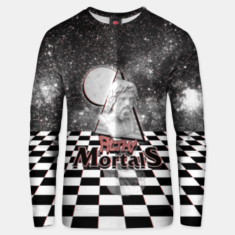 Thumbnail image of ah these mortals and their futile black and white clothing Unisex sweater, Live Heroes