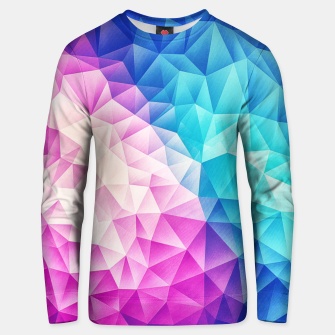 Pink - Ice Blue / Abstract Polygon Crystal Cubism Low Poly Triangle Design Unisex sweater miniature