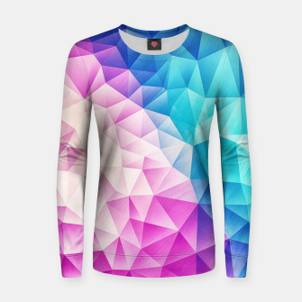 Pink - Ice Blue / Abstract Polygon Crystal Cubism Low Poly Triangle Design Women sweater miniature