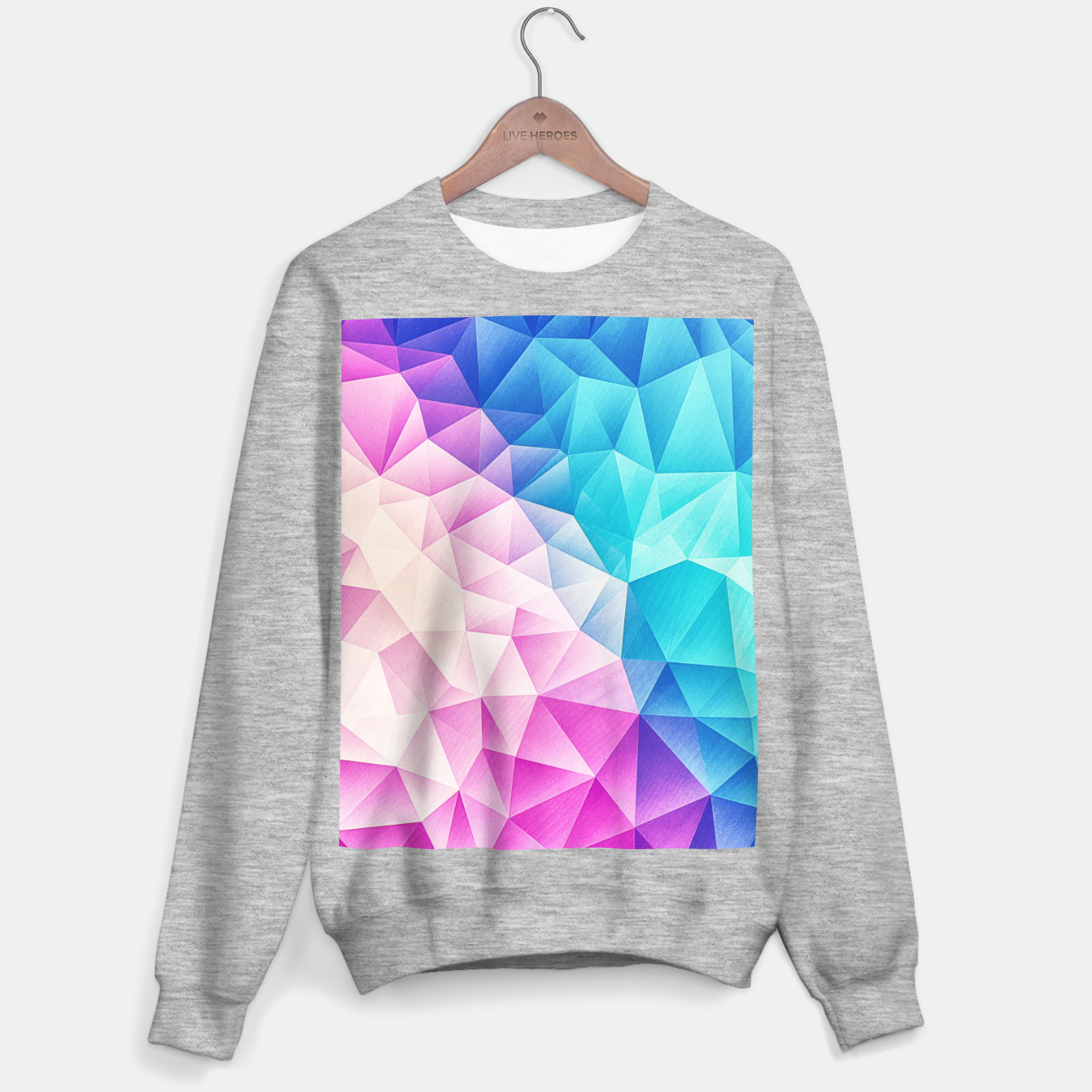 Image de Pink - Ice Blue / Abstract Polygon Crystal Cubism Low Poly Triangle Design Sweater regular - Live Heroes