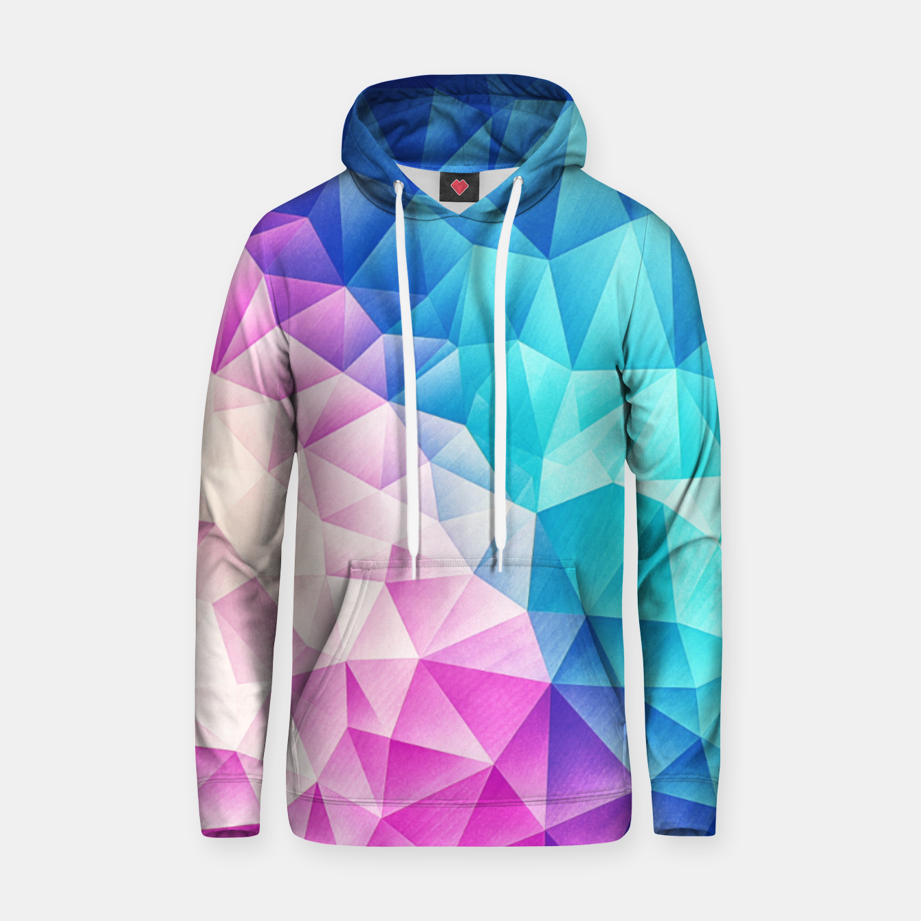Image of Pink - Ice Blue / Abstract Polygon Crystal Cubism Low Poly Triangle Design Hoodie - Live Heroes