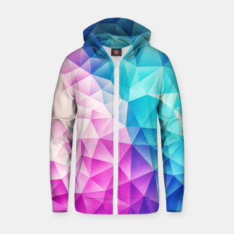 Pink - Ice Blue / Abstract Polygon Crystal Cubism Low Poly Triangle Design Zip up hoodie miniature