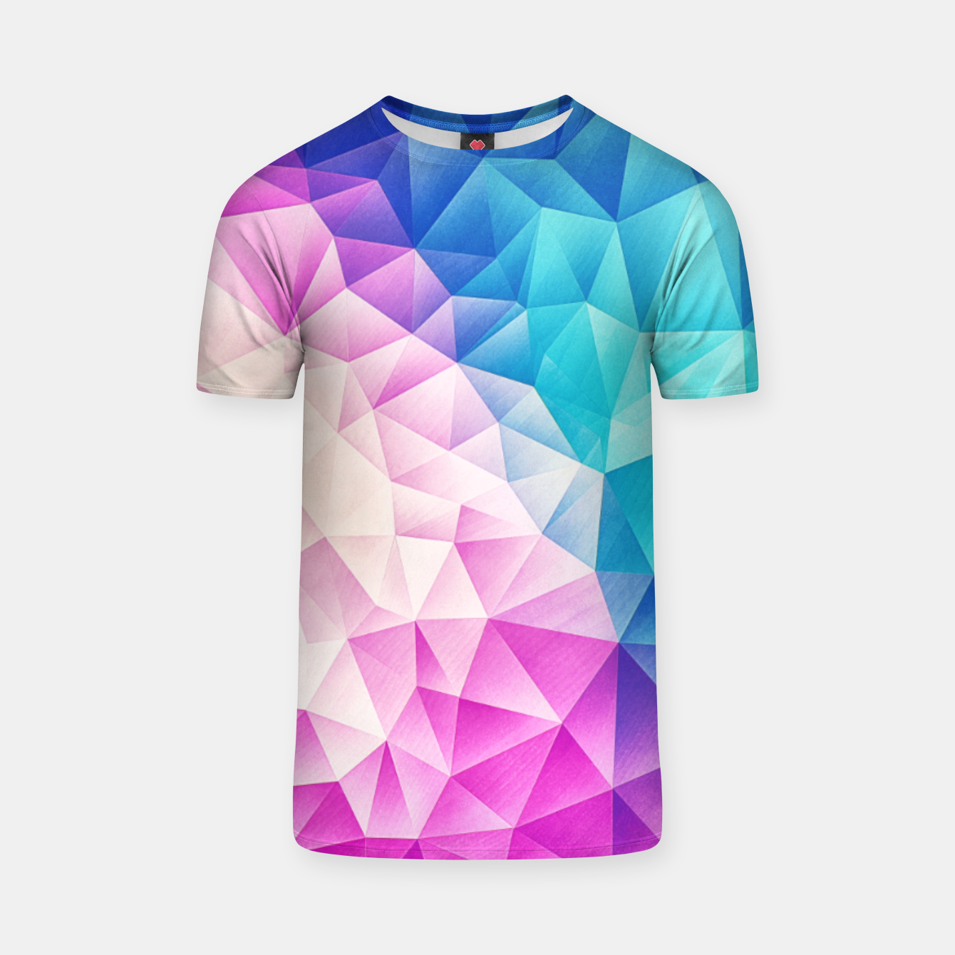 Image of Pink - Ice Blue / Abstract Polygon Crystal Cubism Low Poly Triangle Design T-shirt - Live Heroes