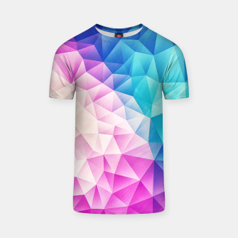 Pink - Ice Blue / Abstract Polygon Crystal Cubism Low Poly Triangle Design T-shirt miniature
