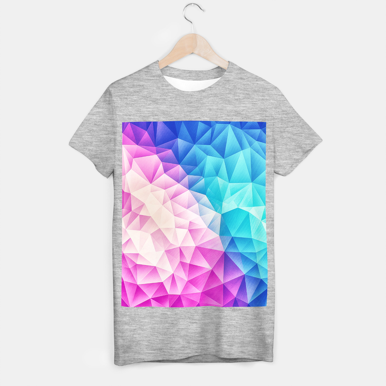 Image de Pink - Ice Blue / Abstract Polygon Crystal Cubism Low Poly Triangle Design T-shirt regular - Live Heroes