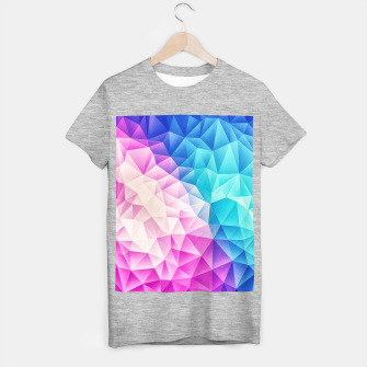 Pink - Ice Blue / Abstract Polygon Crystal Cubism Low Poly Triangle Design T-shirt regular miniature