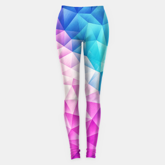 Pink - Ice Blue / Abstract Polygon Crystal Cubism Low Poly Triangle Design Leggings thumbnail image