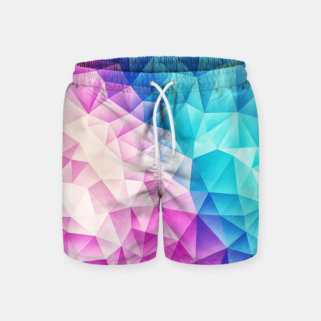 Image de Pink - Ice Blue / Abstract Polygon Crystal Cubism Low Poly Triangle Design Swim Shorts - Live Heroes