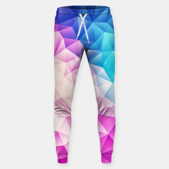 Pink - Ice Blue / Abstract Polygon Crystal Cubism Low Poly Triangle Design Sweatpants miniature