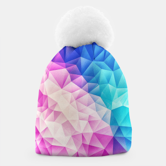 Pink - Ice Blue / Abstract Polygon Crystal Cubism Low Poly Triangle Design Beanie thumbnail image
