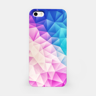 Pink - Ice Blue / Abstract Polygon Crystal Cubism Low Poly Triangle Design iPhone Case thumbnail image
