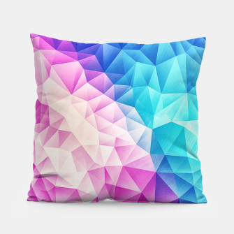 Pink - Ice Blue / Abstract Polygon Crystal Cubism Low Poly Triangle Design Pillow thumbnail image